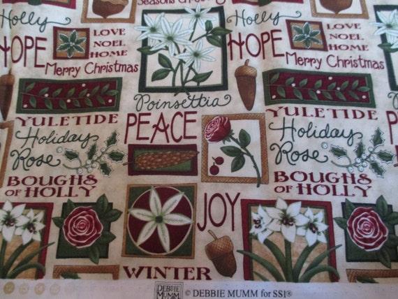 "THREE Christmas Santa Fabric Blocks Debbie Mumm Design 8/"" x 8.5/"" Each"