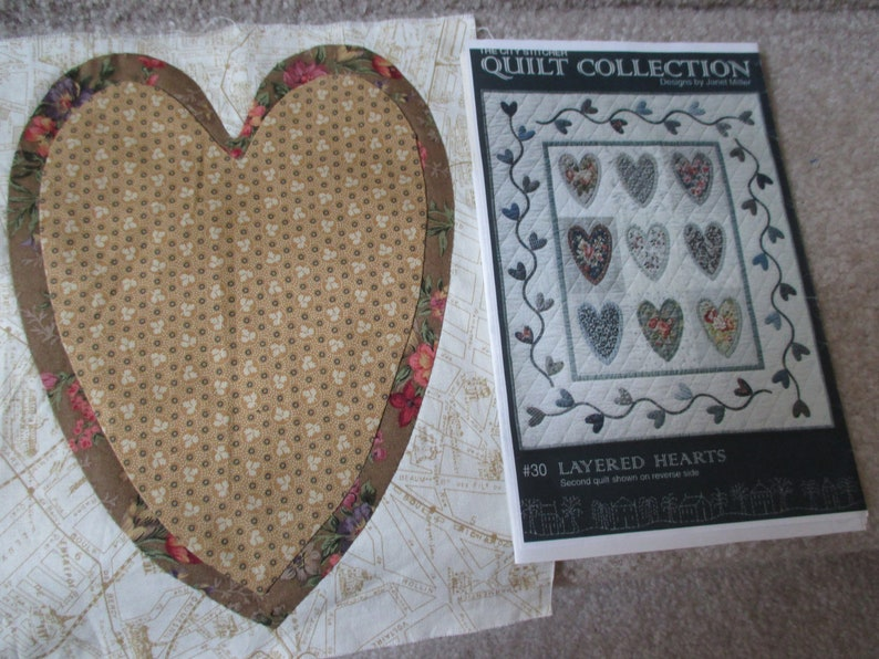 Layered heart quilt block and pattern hearts quilt pattern etsy