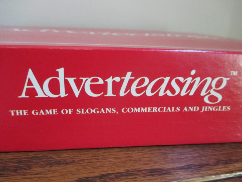 Adverteasing advertising game tv slogans, commercials, and jingles Cadaco  1980s, family game night, trivia game, advertising trivia