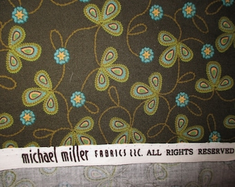 over 2 1/2 yds Michael Miller Stitch Three Leaves dark olive green and turquoise