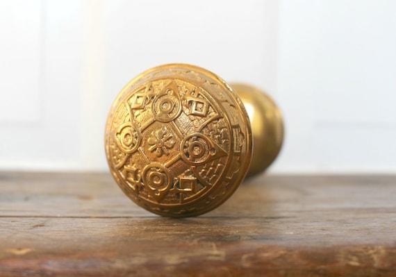 Antique Brass Door Knob Set Arts And Crafts Style Salvaged | Etsy