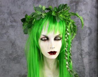 Full Absinthe Green Wig w Headdress Costume Renaissance Gypsy Burning Man Wedding Celtic Pagan festival Fairy  sc 1 st  Etsy & Absinthe costume   Etsy