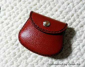 ear buds jewelry,case  pouch 100/% hand stitched handmade super dark brown cowhide leather Ipod trinket coin