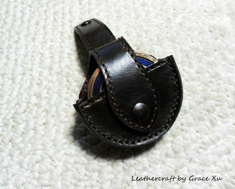 100/% hand stitched handmade chocolate brown cowhide leather dip snuff  case  pouch  holder