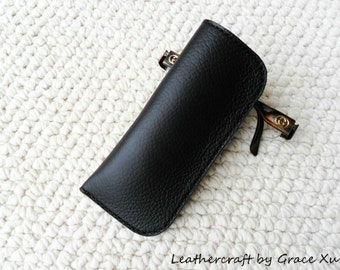 100% hand stitched handmade black cowhide leather eyeglasses case