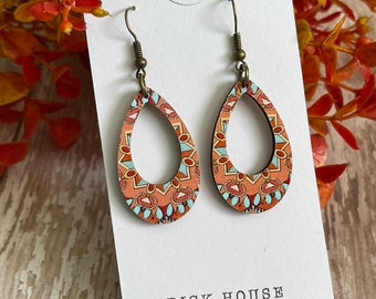 Fall Whimsy Printed Wooden Earrings, Fall Earrings, Orange Wood, Autumn Accessories