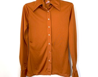 Vintage St Michael Blouse Shirt Top Yellow Orange Flower Power 70s Seventies 1970s Marks Spencer Retro Large L Dagger Collar