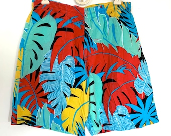 Vintage 90s Womens Woolrich Shorts, Colorful Tropical Drawstring Shorts, Size Medium