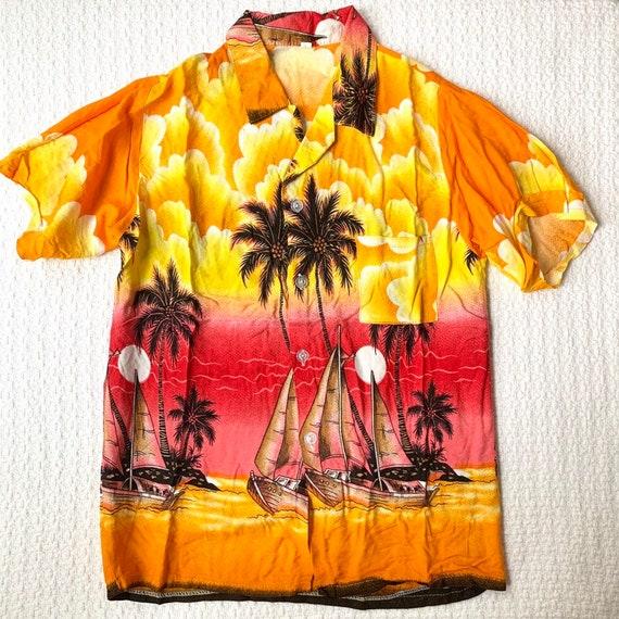 Vintage Kids Hawaiian Shirt, Vibrant Orange Sunset