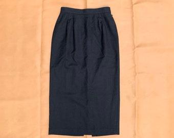 Women's Vintage Wool Skirt, 90s Black Long Skirt, Size 10