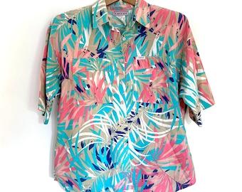 Vintage Womens Short Sleeve Button Up, Floral Blouse, Size 10