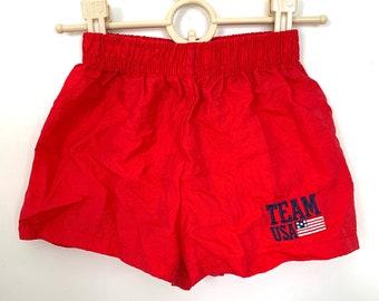 Vintage Kids Team USA Athletic Shorts, Red Elastic Children's Shorts, Size 5/6