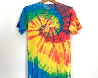 Vintage Rainbow Tie Dye T-Shirt, 90s Unisex Short Sleeve Tee, Adult Small