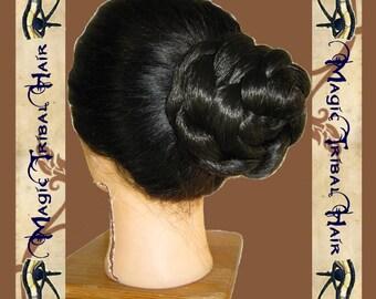 CUSTOM hair bun CHIGNON Wedding wig SCA Tribal Fusion Belly dance hair falls extension Renaissance plait  Reenactment Fantasy switch braid
