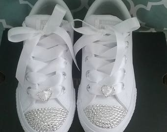ea74484ce616 Crystal Converse Big Kids Youth Toddler Satin Laces White Bows Flower Girl  Shoes leather mono white