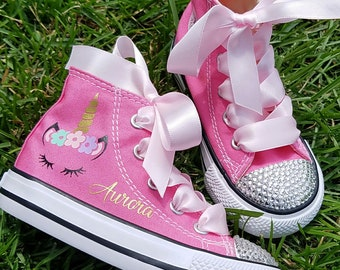 quality design 6380c 0d826 Unicorn Shoes, Crystal Converse, Girls Sneakers, Baby Toddler, Personalized  Name, Pink High Tops