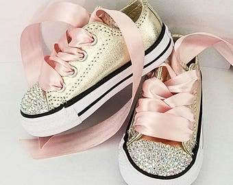 b98eb20d4e1a7a Pink and Gold Crystal Converse Toddler Baby Shoes Party Sneakers Tons of  Bling size 9