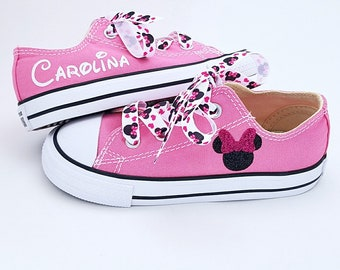 6959e017719a3d Pink Converse, Minnie Mouse, Personalized Name, Sparkle Bow, Satin Laces,  Infant Toddler 2-10