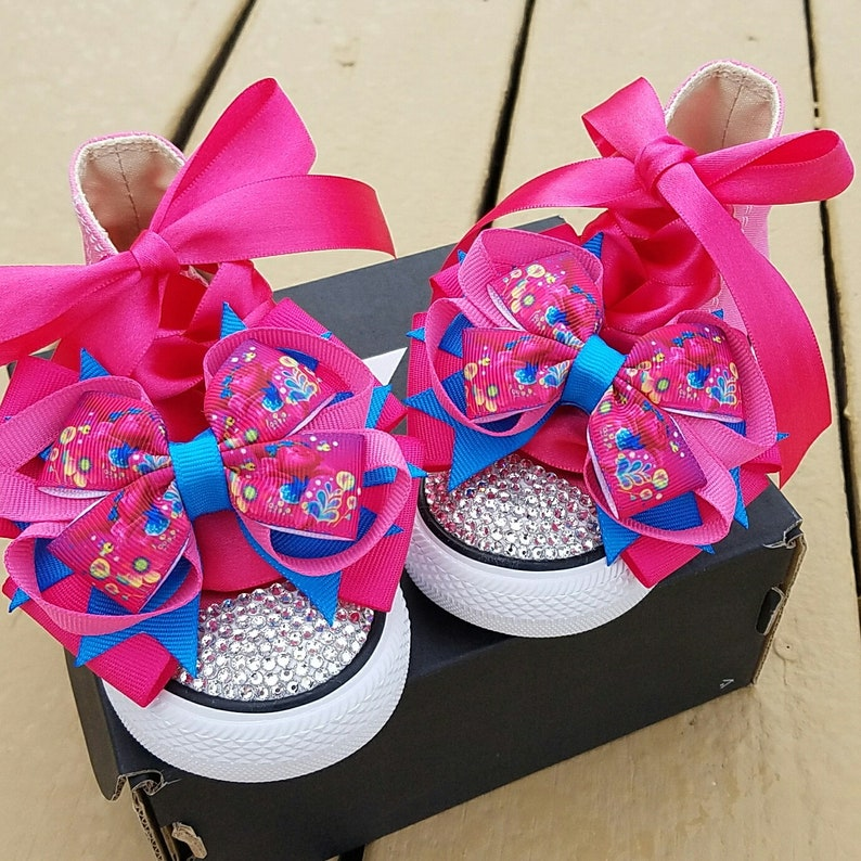 8fe538d58cc689 Trolls Converse Pink Poppy Bling Crystals Personalized