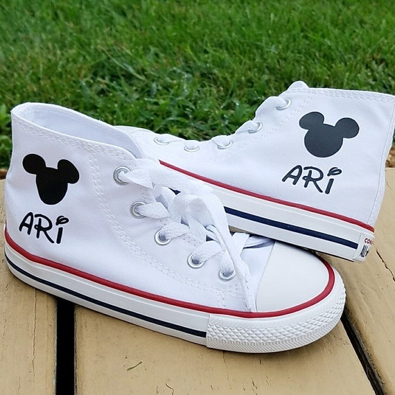 Mickey Mouse Shoes, High Top Converse, Personalized Name
