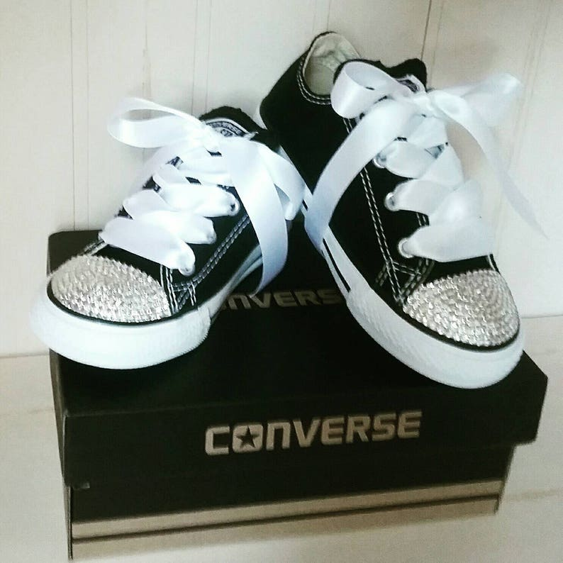 1632331ffca Crystal Converse Black Shoes For Little Girls