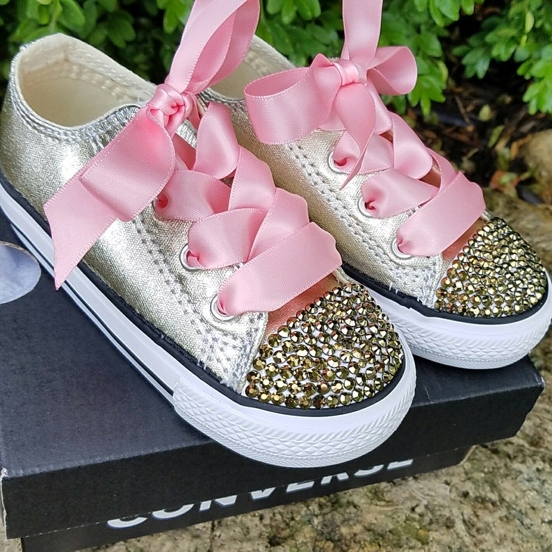 60cfd2e69827a7 Gold Converse Toddler Shoes Gold Crystals Pink Satin Laces