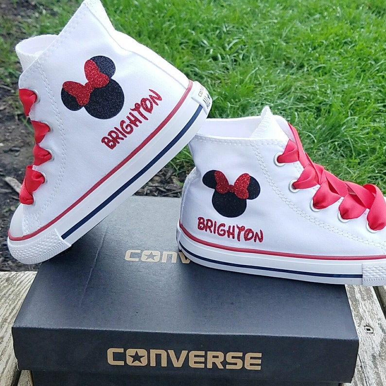 9636d6a6d78d Minnie Mouse Shoes White High Tops Converse Sneakers