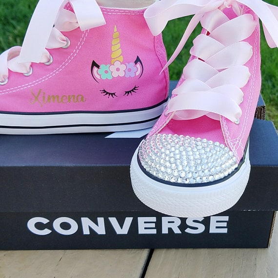 Unicorn Shoes, Crystal Converse, Girls Sneakers, Baby Toddler, Personalized Name, Pink High Tops