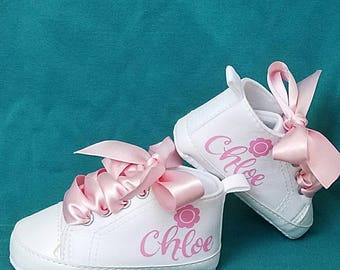 Baby Shoes, White, Pink, Soft Crib, Any Name, Canvas High Tops,  Satin Laces, Personalized, Baby Shower Gift, Choose Size