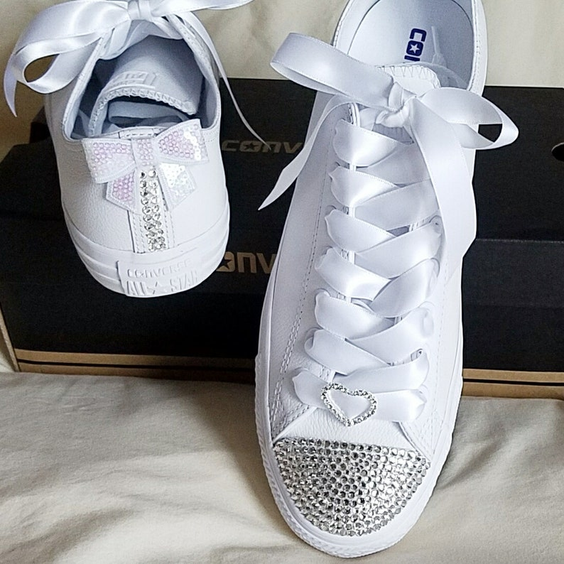 eebdb27db80716 Bridal Converse Crystals Bling All White Rhinestone Heart