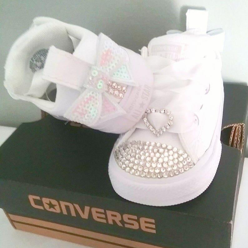 3b4137e4bc1 Crystal Converse Big Kids Youth Toddler Satin Laces White Bows
