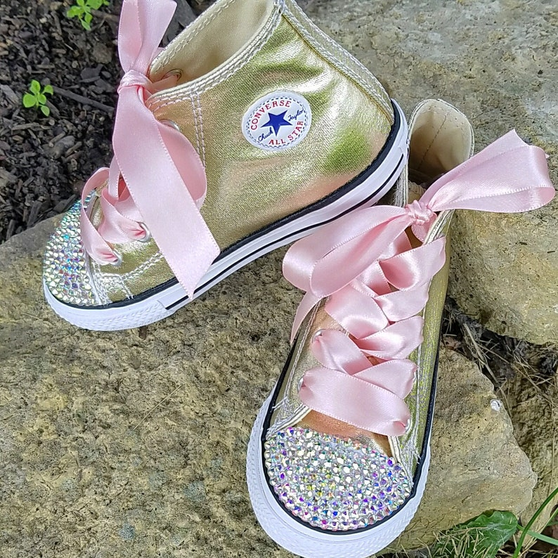 638e8568049e Crystal Converse Gold and Pink Infant Toddler Hi Tops