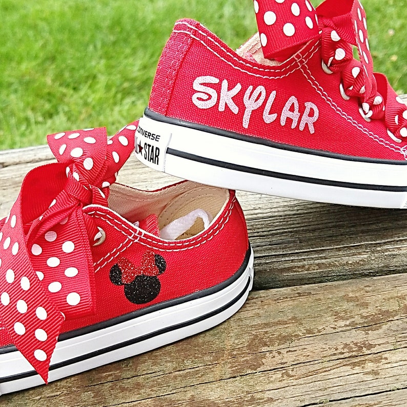 a63bab4bedb9 Red Converse Crystal Shoes Baby Toddler Minnie Mouse