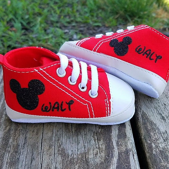 1f4e73002fc7 Personalized Shoes Mickey Mouse Bling Glitter Red Sneakers
