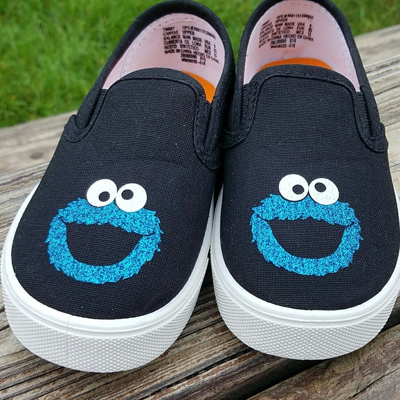 2ab39ffd46 Cookie Monster Shoes, Baby Toddler, Glitter or regular, Free Shipping,  Black Sneakers, Slip On, Boy or Girl, Fast Shipping, Size 3-10