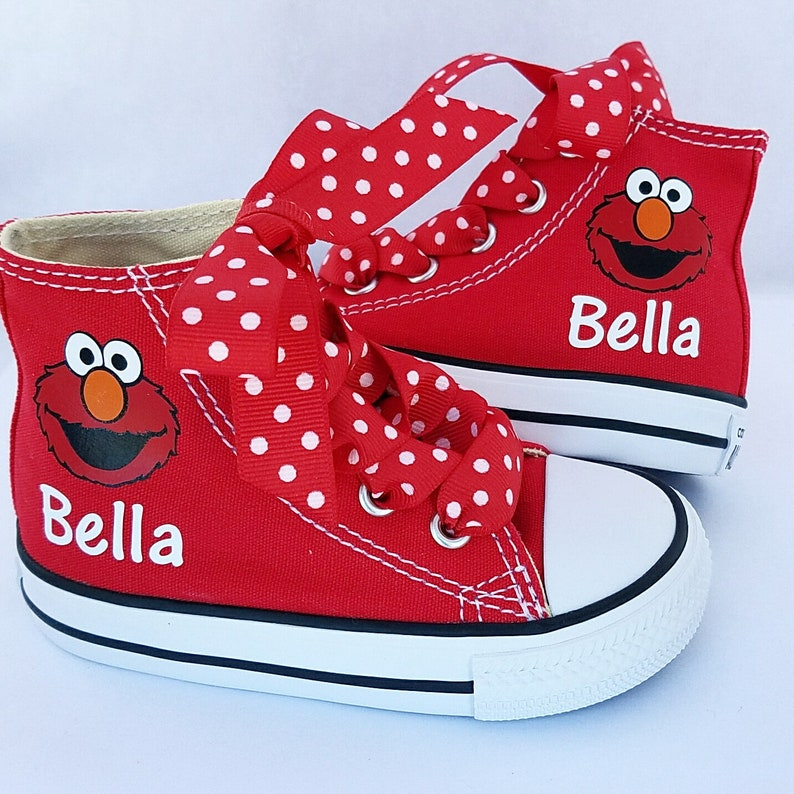 94f8b4c2780b Elmo Converse Personalized Shoes Girls Sneakers Polka dot