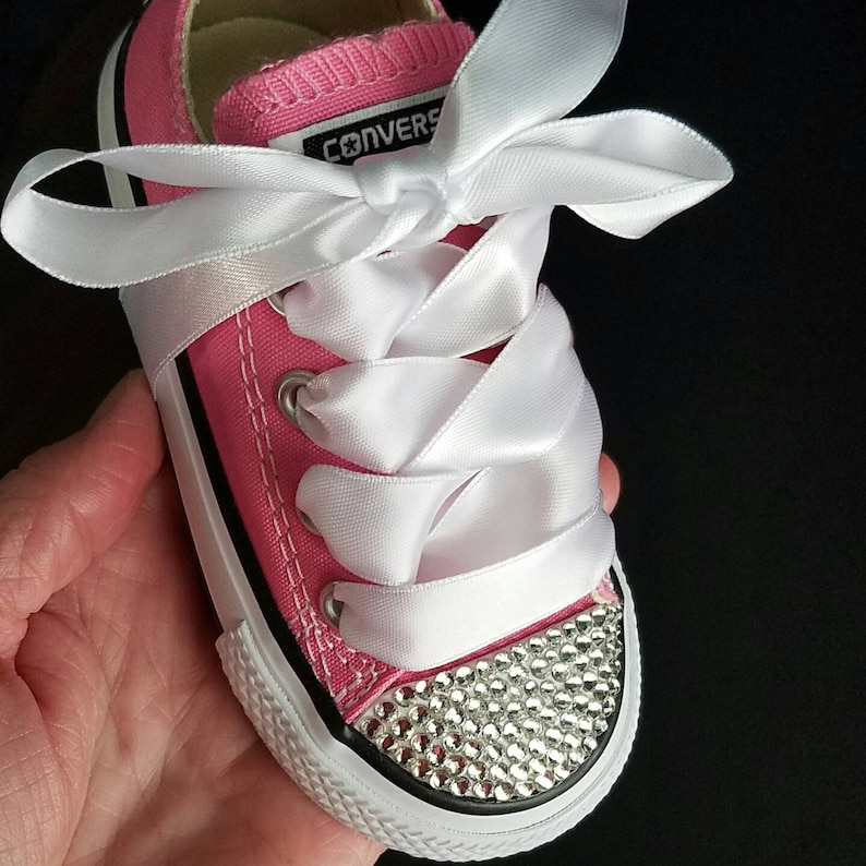 0a94ae35afe9 Pink Crystal Converse Bling Toddler Shoes Sizes 2-10 Satin