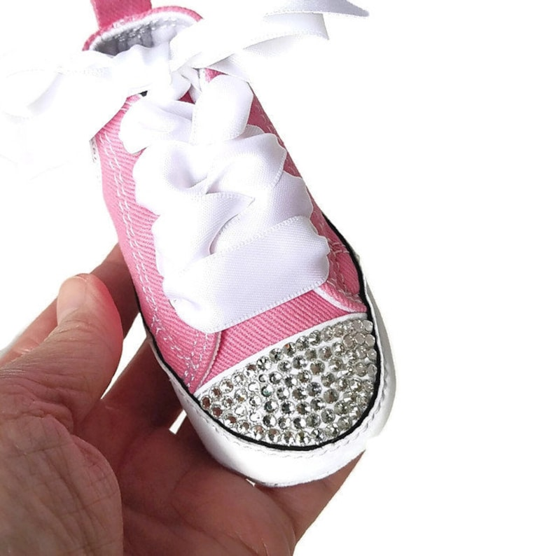5865d2ecc4e8a6 Pink Converse Baby Girls Personalized Name Bling Shoes