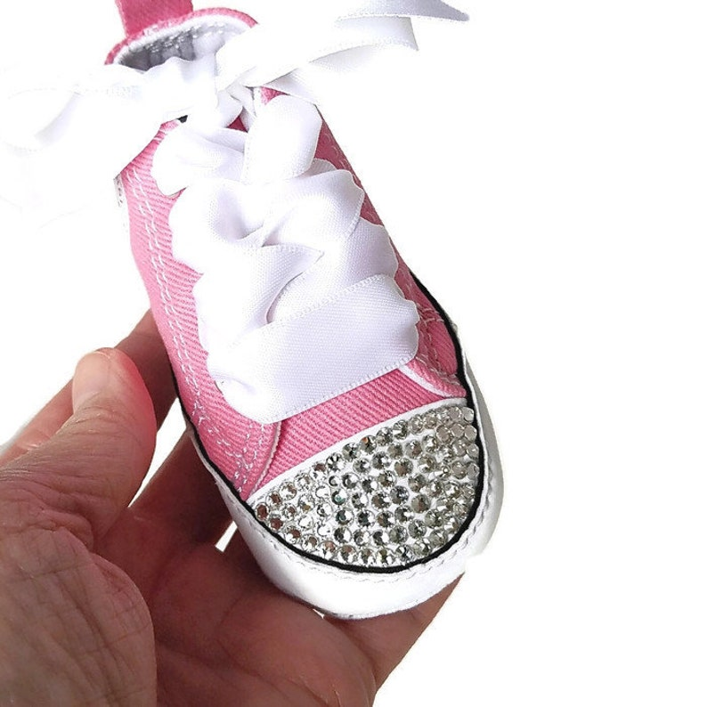 5ce02efcf1c6 Pink Converse Baby Girls Personalized Name Bling Shoes