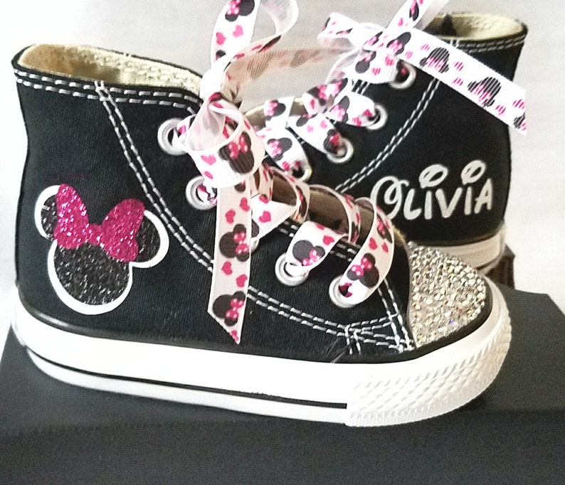 8643e82ba584 Minnie Mouse Shoes Personalized Converse Crystal Toes Bling