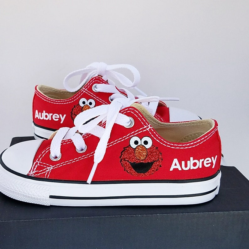 40dcd0ba7393 Elmo Converse Glitter Elmo Personalized Name Baby Toddler