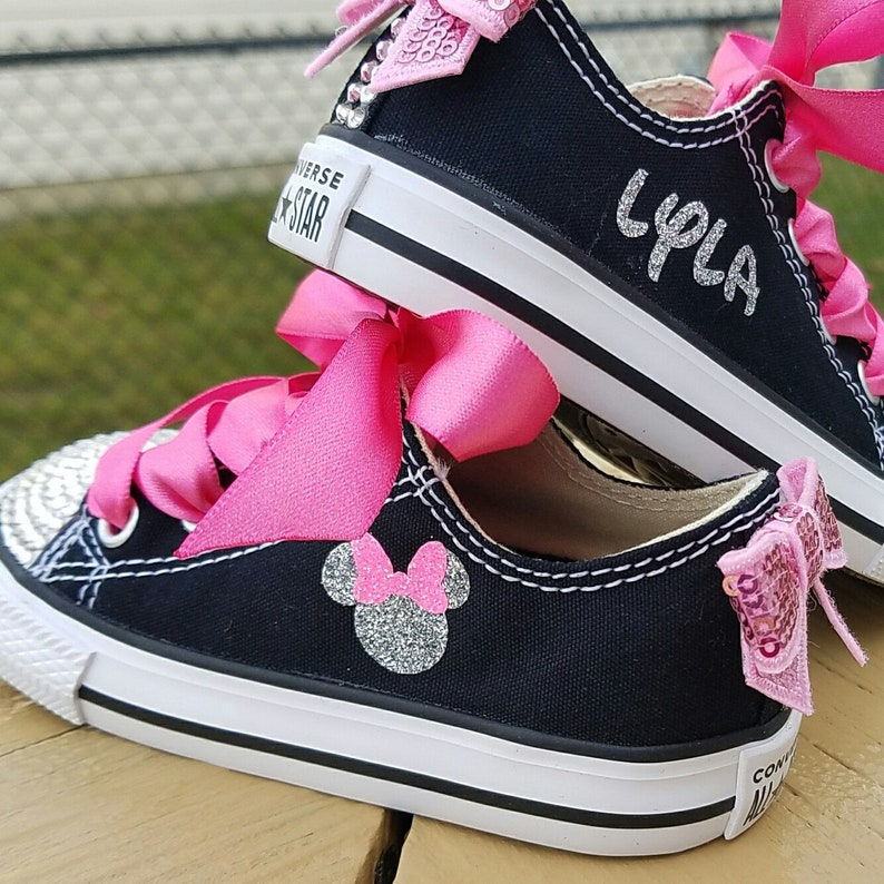 c9014d1b146b Minnie Mouse Shoes Pink Black Silver Personalized Name