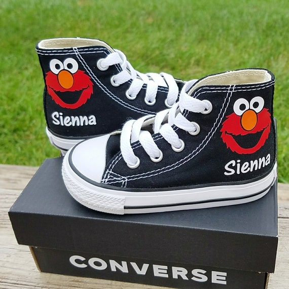 Elmo Sneakers, Converse Shoes, Personalized Name, Toddler Sizes 2 10, Many Colors, High Tops