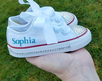 Kids Converse, Bling Crystals, Toddler Sizes, 2-10, Bedazzled Toes, All Around, Up The Back, You Choose, Baby Girls