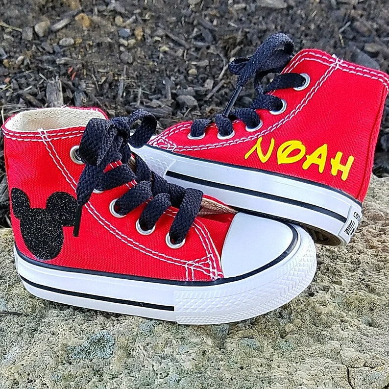 af3b2963ef9aac Boys Converse Red Hi Tops Chuck Taylors Bling Mickey Mouse