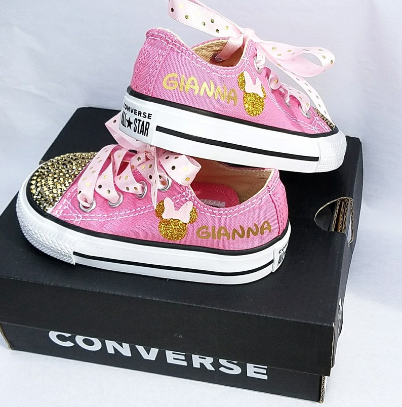 5c8f992ed754 Minnie Mouse Shoes Pink and Gold Personalized Name Glitter