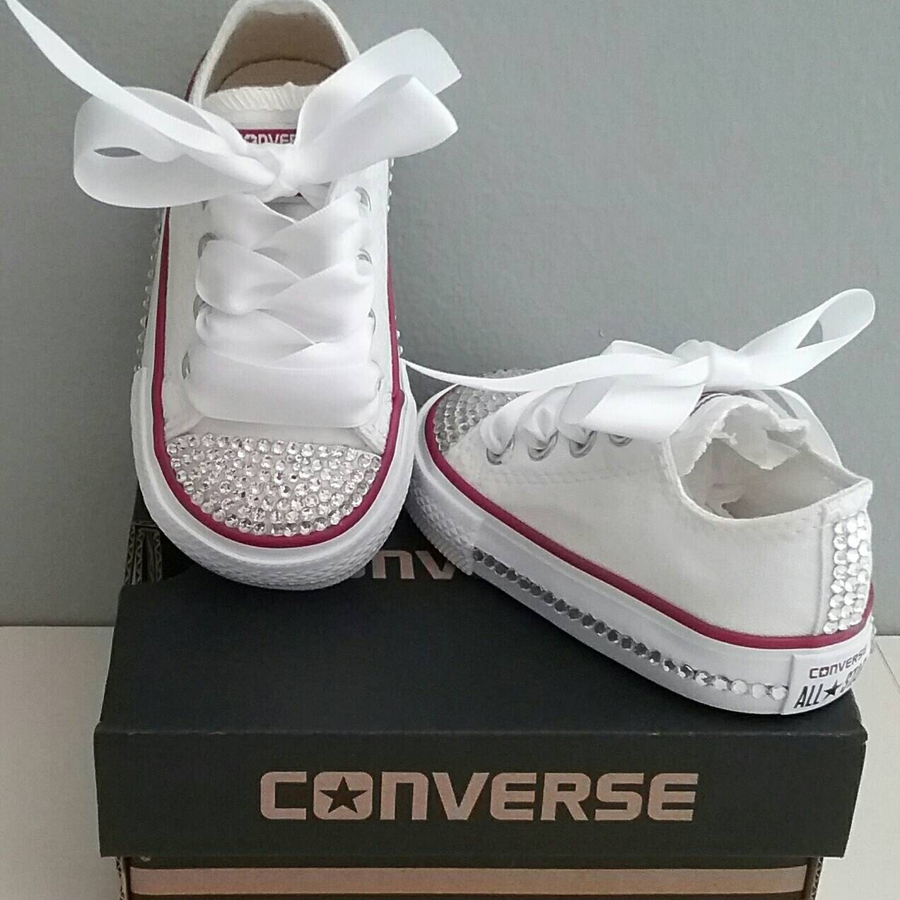 Kids Converse Bling Crystals Toddler Sizes 2-10 Bedazzled  855b38fb8