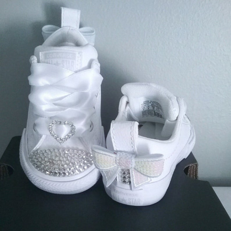 18ca7143a81 All White Converse Baby Infant Toddler Toes and Backs