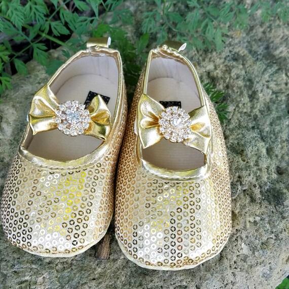 Chaussures de bébé or, 12-18 mois, paillettes chaussures, Mary Janes, arc d'or, strass or, prêt à expédier, chaussures de robe de fille