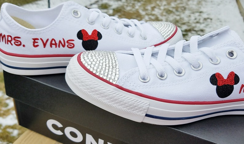 c088611aa815 Minnie Mouse Shoes White Converse Ladies Wedding Name